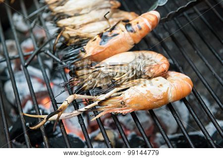 Grilled Shrimps On The Flaming Grill, Barbecue Seafood