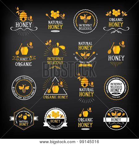 Honey badge and label. Abstract bee design.Vector with graphic.