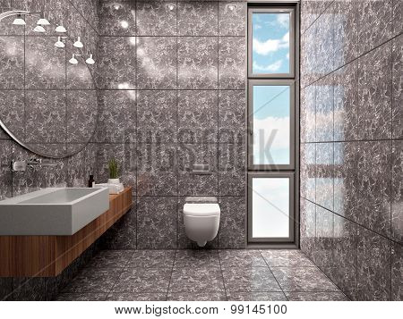 3D Illustration Of Modern Bathroom Interior Minimalist Style In Dark Colors With Marble Tiles