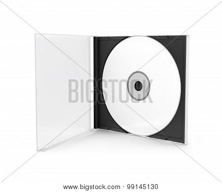 Dvd Cover Disccd Box With Disc On White Background