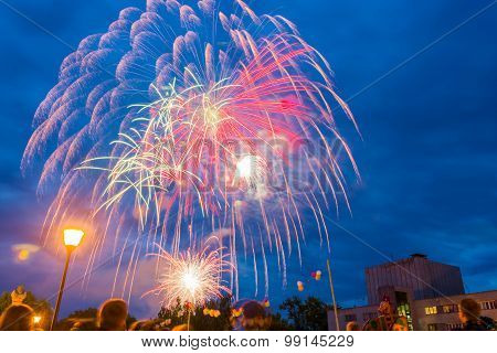 Fireworks on the feast Day of the city in Kohma, June 12, 2014.