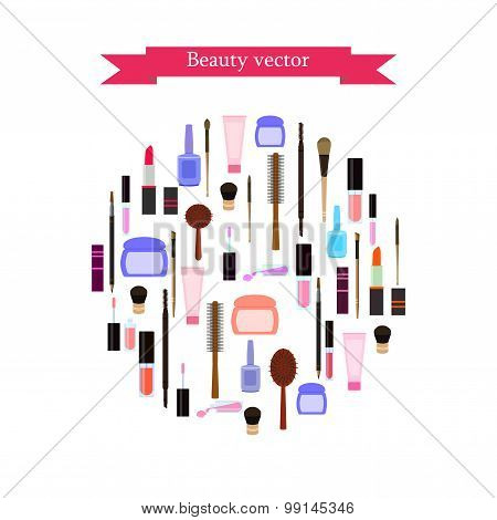 Cosmetics In Circle On White Background