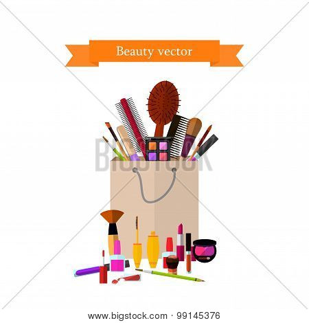 Package Full Of Makeup On A White Background. Vector Illustrations