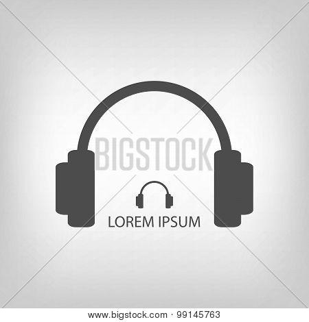 Grey headphones as music logo