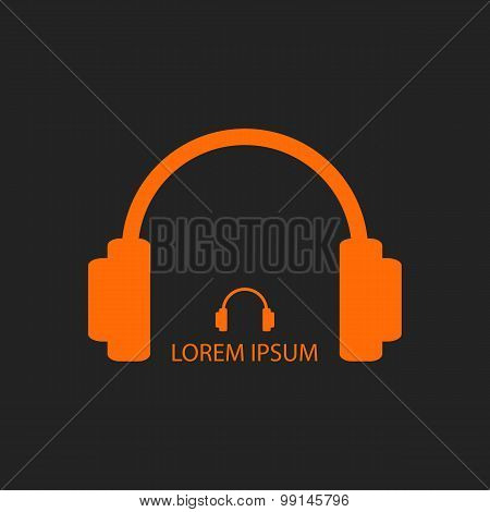 Orange headphones as music logo