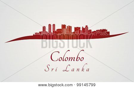 Colombo Skyline In Red