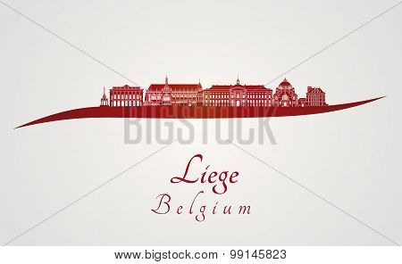 Liege Skyline In Red