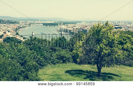 majestic view on Budapest from a green hill