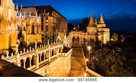 night view on the old fishermen Bastion in Budapest