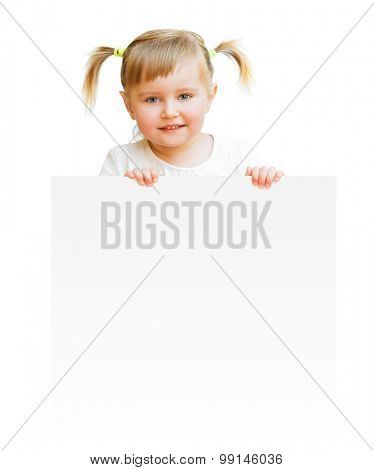 little child with board isolated on a white background