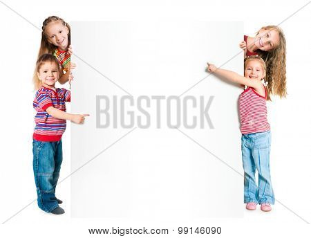 Beautiful kids with big white banner
