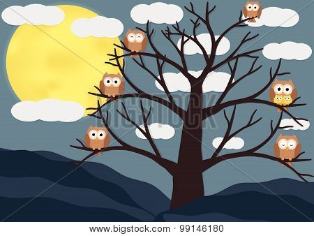 Owls on dead tree in night with full moon background. Vector flat design illustration.