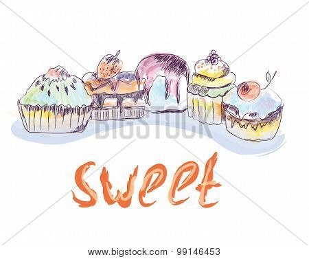 Cakes And Cupcakes Sketch - Hand Drawn  Illustration