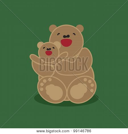 Sticker, Card With Happy Mother And Child Brown Bear