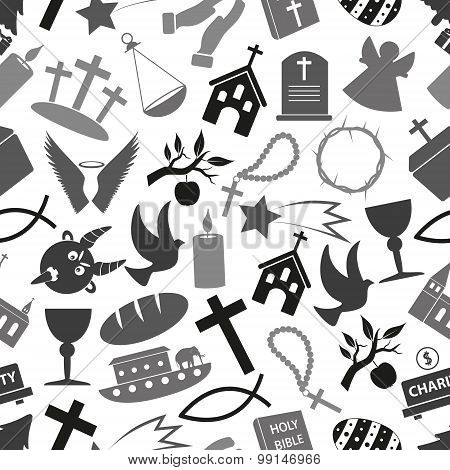 Christianity Religion Symbols Grayscale Seamless Pattern Eps10