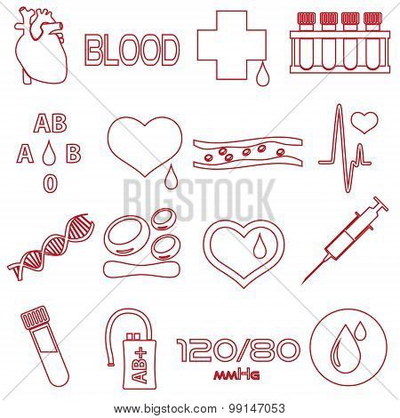 Simple Blood Outline Red Vector Icons Set Eps10