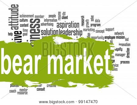 Bear Market Word Cloud With Green Banner