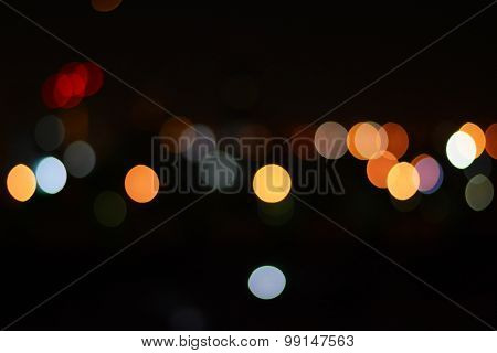 Colorful Bokeh Or Blurry Light At Night As  Abstract Background