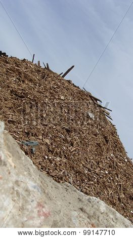 Detail Of A Wood Rubble Pile On A Demolition Site