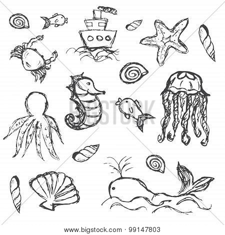 Fish And Sea Life Hand Drawn Doodle Icons Set Eps10