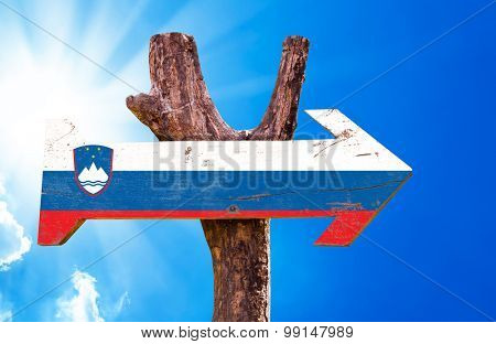 Slovenia Flag wooden sign with sky background
