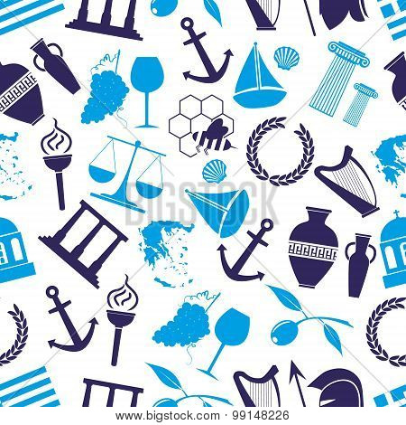 Greece Country Theme Symbols Seamless Blue Pattern Eps10