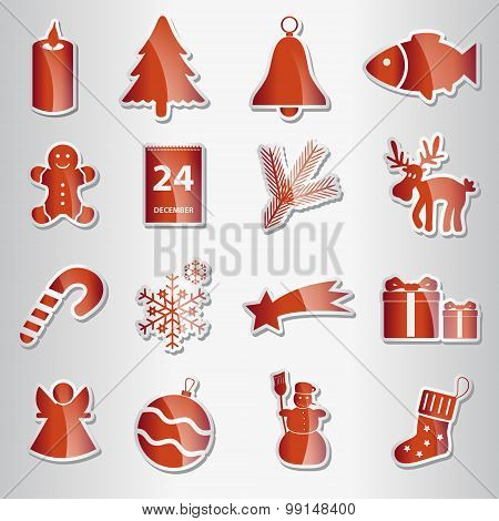 Various Christmas Red Shiny Stickers Collection Eps10