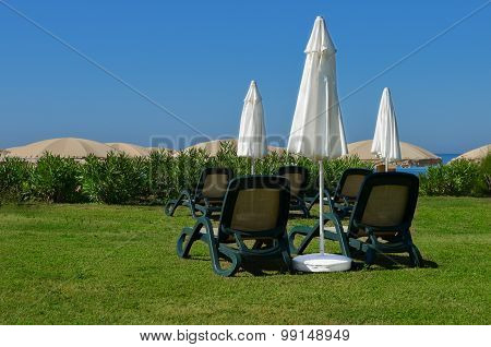 Sun Loungers And Umbrellas On The Grass At The Seaside