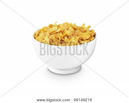 Corn Flakes In Bowl Cut Out - Stock Image