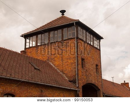 Top of the gate tower in Brzezinka concentration camp