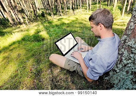 Man Is Sitting Against A Tree In The Forest, Working With His Laptop