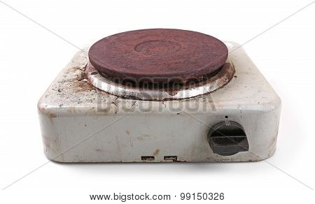 Old Dirty Electric Stove Isolated On White