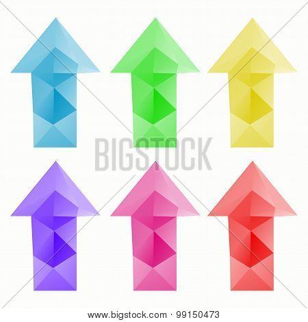 Polygonal design arrows set with triangular polygons