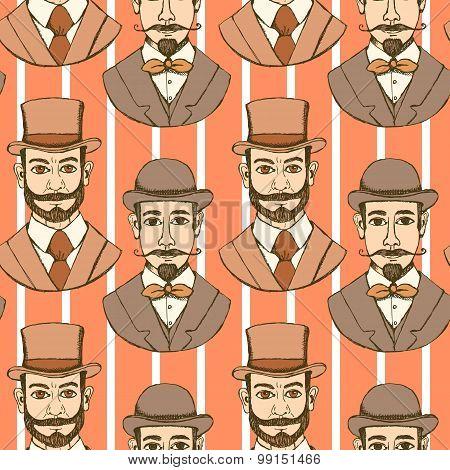 Sketch Man In Hat, Vintage Style