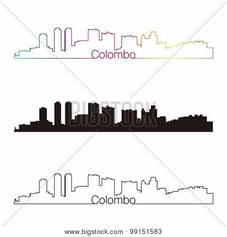 Colombo Skyline Linear Style With Rainbow [convertido]