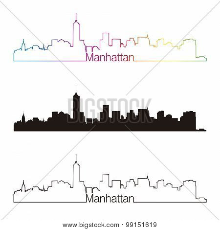 Manhattan Skyline Linear Style With Rainbow