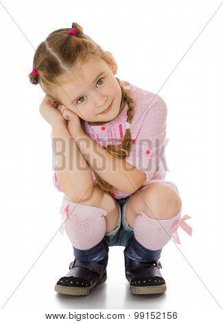 little girl in shorts