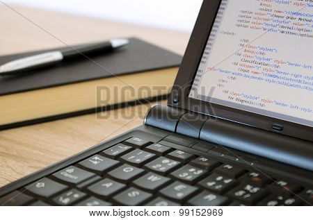 Coding A Website On Modern Notebook At Office