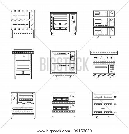 Stoves and ovens thin line vector icons