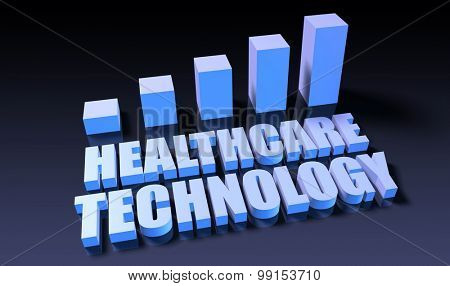 Healthcare technology graph chart in 3d on blue and black