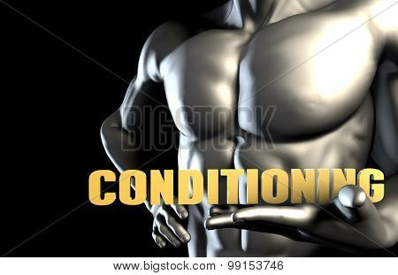 Conditioning With a Business Man Holding Up as Concept