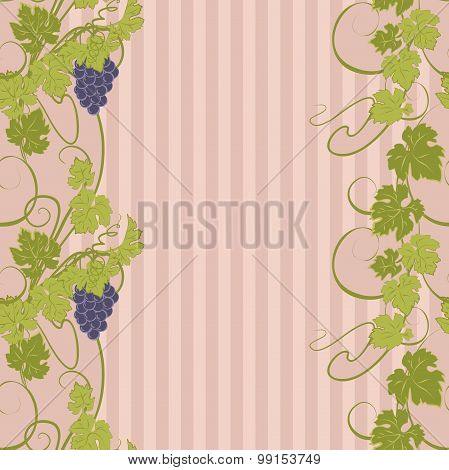 Seamless texture with vines and bunches of grapes.