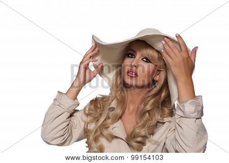 portrait of a beautiful blonde in trench coat. retro vitage style . isolated on white background. co