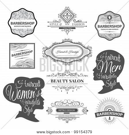 barber shop labels and logos