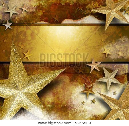 Golden Sparkle Star Background