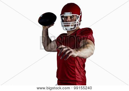 American football player throwing ball on white background