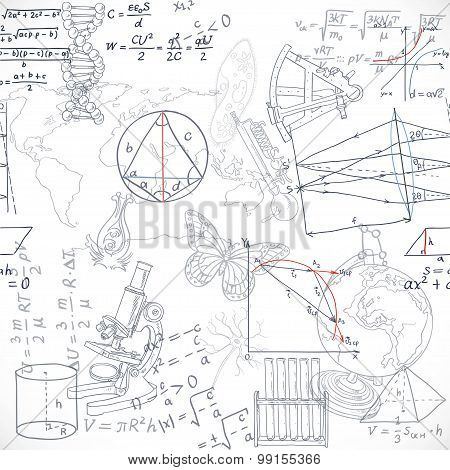 Seamless Pattern Of The Formulas And Doodles School Subjects Isolated On White Background