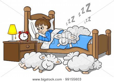 Sheep Fall Asleep On The Bed Of A Sleepless Man