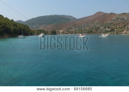 Sailboats at sea. Aegean Islands, Aegean Sea, Turkey, Marmaris