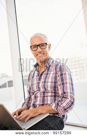 Portrait of smiling casual businessman using laptop in the office